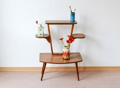 Vintage German flower table plant stand Mid Century modern wood faux bois by MightyVintage on Etsy https://www.etsy.com/listing/184039339/vintage-german-flower-table-plant-stand