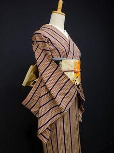 ●ガールズ●アンティーク!!レーズン*シマシマ♪ 正絹小紋 袷 裄62.5丈153 - アンティーク着物や現代着物なら雅星本店