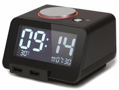 Homtime Multi-function Alarm Clock, Indoor Thermometer, Charging Station/Phone Charger with Dual Port USB for iPhone/iPad/iPod/Android Phone and Tablets, Black Digital Radio, Digital Alarm Clock, Alarm Clocks, Best Alarm, Bedside Clock, Cool Clocks, Smart Home Automation, Phone Charger, Ideas