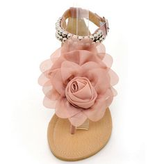 6db98a01c2e7b1 Pink Thong Sandals Flower Women Shoes Beading Gladiator Ankle Strap Flip  Flops Strappt Sandals Flat with Beige-in Women s Sandals from Shoes on ...