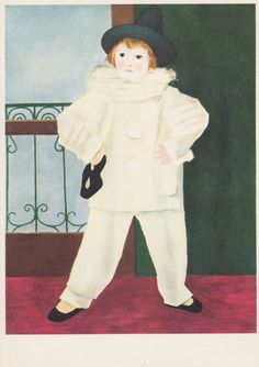 "Vintage French Postcard -- Pablo Picasso ""Pierrot with mask"" -- 1970s"