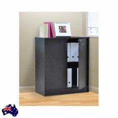 Lockable Office Cabinet Cupboard 2 Door Bookcase 2 Shelf Brown Wooden Home Files