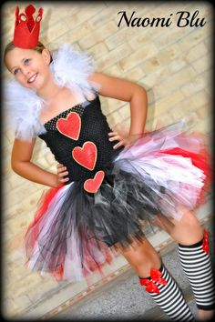 Alice in Wonderlands' Queen of Hearts Tutu Dress and Crown. Sizes 0-6 Months, 6-12 Months, 12-18 Months. $65.00, via Etsy.