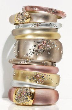 .pretty blush shade bangle stack. repinned by http://the-glitter-side.blogspot.com www.facebook.com/TheGlitterSide