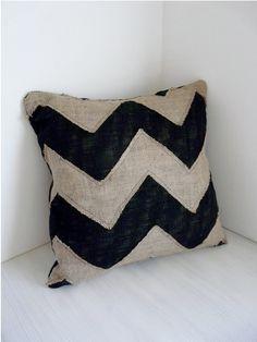 burlap chevron pillow