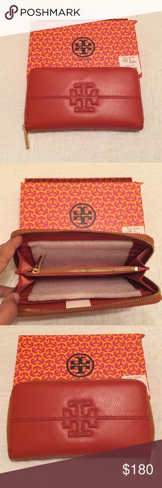 Tory Burch 'Thea' continental large wallet Tory Burch Thea wallet in beautiful Vachetta color. Large continental wallet with gold hardware. Comes with box and pouch. Never been used. Tory Burch Bags Wallets