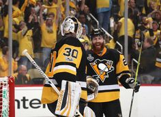 PITTSBURGH, PA - JUNE 08: Goaltender Matt Murray #30 of the Pittsburgh Penguins is congratulated by teammate Ian Cole #28 after their 6-0 victory over the Nashville Predators in Game Five of the 2017 NHL Stanley Cup Final at PPG Paints Arena on June 8, 2017 in Pittsburgh, Pennslyvannia. The Penguins lead the series 3-2. (Photo by Dave Sandford/NHLI via Getty Images)