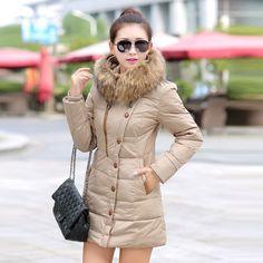 2016 womenjacket and parks cotton long section padded jacket Korean version of loose big yards women's winter fur collar coat alishoppbrasil