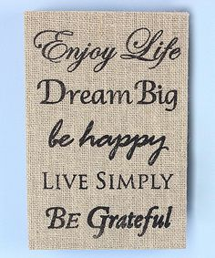 Enjoy Life Burlap Box Sign | zulily