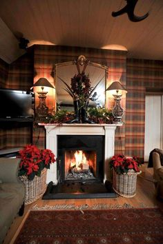 Ian Thompson Interiors Christmas decor with Tartan Plaid Wallpaper and a cool mantel display English Country Cottages, English Country Decor, Scottish Decor, Equestrian Decor, Rustic Fireplaces, Piece A Vivre, Cottage Interiors, Tartan Plaid, Tartan Decor