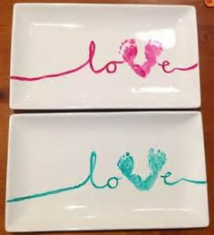 Baby Footprint Craft Idea. Great for a  present for grandparents!