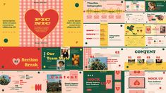Picnic PowerPoint Template Presentation Design Template, Presentation Layout, Web Design, Layout Design, Book Design, Graphic Design Posters, Graphic Design Illustration, Cute Powerpoint Templates, Powerpoint Background Design