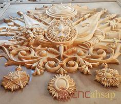 Agaç üzerine 3 boyutlu Osmanli Devlet Arması işleme.... www.cncahsap.net