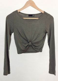 olive green knotted crop top