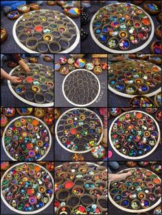 """Decorating cardboard circles within a hoop, inspired by ThinkinEd - from Rachel ("""",)"""