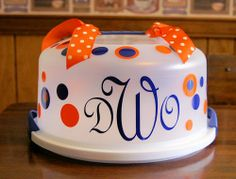 "What a fun ""welcome to your new home gift"" personalized cake carrier (complete with cake of course!)"