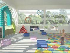 Brinquedoteca | Projeto de espaço lúdico de recreação para escola. Uso de piso vinílico colorido, espelho acrílico e sapateira reciclada de canos de pvc.