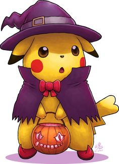 Pikachu Pikaboo by Ry-Spirit, pokemon #pikachu digital painting, #halloween trick or treat, cute character illustration, inspirational #art