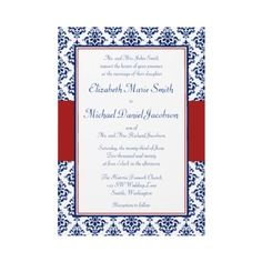 Navy Blue and Red Damask Wedding Invitations by printcreekstudio