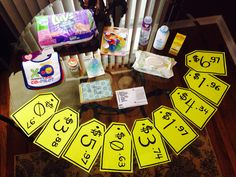 The Price Is Right Baby Shower Game- print the tags with room to write down objects. Then a blank one with room for total. Person closest without going over wins.