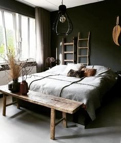 a dark bedroom for a good night's sleep 🖤 # cozy_bedroom inspiration Cozy Bedroom, Bedroom Inspo, Bedroom Colors, Home Decor Bedroom, New Room, Interior Design Living Room, Apartments Decorating, Decorating Bedrooms, Decorating Ideas