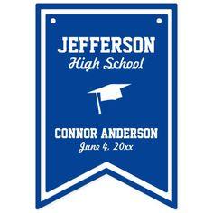 Blue Graduation Bunting | Grad & School Name Date Bunting Flags