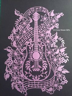 Papercuts framed papercut Framed Guitar от Crazyhousegifts на Etsy
