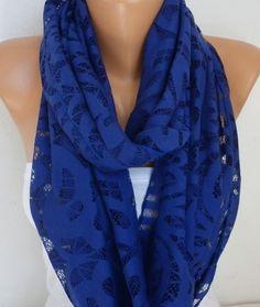 Royal Blue Lace Infinity Scarf, Summer Scarf Cowl Circle Loop…