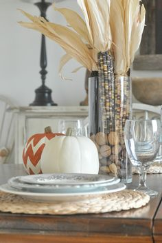 Fall Tablescape. I've done the Indian Corn in a tall Hemingway and it;'s quite eye catching, mix that chevron pumpkin and WoW