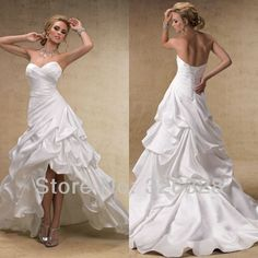 2013 new products wedding dress hi lo white sexy beach ruffles sweetheart low front and long back lace up pleat corset long $218.00