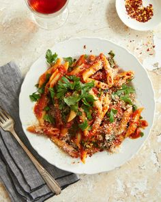 Penne All'Arrabbiata on plate. Baked Pasta Dishes, Pasta Shapes, Vegan Main Dishes, One Pot, Penne Pasta, Vegetarian Dinners, Italian Pasta, Pasta Recipes, Spicy