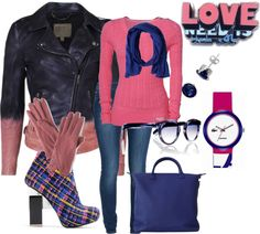 """SHADES OF PINK AND BLUE JEAN OUTFIT"" by evelyn-wade on Polyvore"
