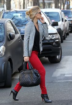 red jeans, black tshirt, grey blazer, black bag and short boots... already have everything so definitely stealing this idea- Good for work