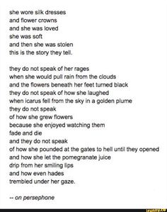 Found on iFunny Poem Quotes, Cute Quotes, Words Quotes, Greek Gods And Goddesses, Greek And Roman Mythology, Pretty Words, Beautiful Words, Percy Jackson, Hades And Persephone