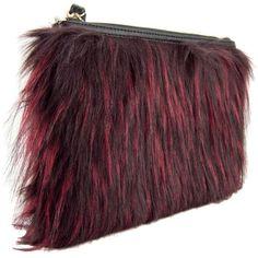 Miranda Faux Fur Wristlet Clutch ($6) ❤ liked on Polyvore featuring bags, handbags, clutches, ipad handbags, purple purse, wristlet purse, mini handbags and miniature purse