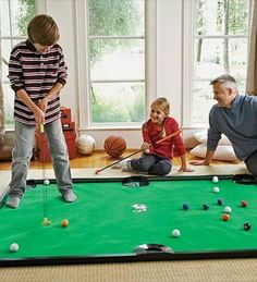 Get ready for some indoor family fun with a new twist on the classic game of mini-golf and the sport of billiards! Easy to set up the Golf Pool game is perfect as a boredom buster on those rainy summer days! Pool Games, Backyard Games, Fun Games, Games For Kids, Activities For Kids, Golf Party Games, Water Games, Indoor Activities, Backyard Ideas