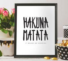 Hakuna Matata print Hakuna Matata quote by BeePrintableQuoteArt