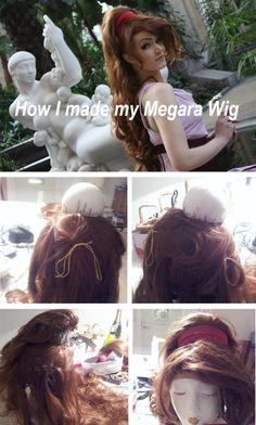 Megara wig - Tutorial by artist Su-rine. Cosplay Hair, Cosplay Wigs, Best Cosplay, Cosplay Wig Tutorial, Costume Tutorial, Costume Wigs, Costume Makeup, Diy Costumes, Meg Hercules