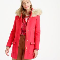 Make winter your coolest season—and no, we're not talking about the forecast. Our newest parka has a swingy A-line shape and is made from our exclusive stadium-cloth wool, created especially for us by Italy's Nello Gori mill (inspired by old-school stadium blankets, it adds warmth without bulk...and we've used it in our collection every year since 2006). Our favorite detail? Removable faux-fur trim on the hood, which makes you look (and feel) a little extra chic when you're trudging along…