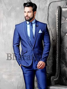 Exclusive blue color #Imported #Fabric one button #Blazer with shawl lapel and contrast piping all over. Item Code: TSP2738 http://www.bharatplaza.com/new-arrivals/mens-suits.html