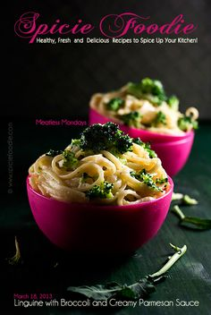 Linguine with Broccoli and Creamy Parmesan Sauce Recipe by Spicie Foodie | #pasta #meatlessmondays #italian