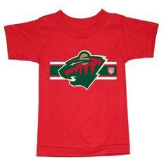 Toddler Minnesota Wild Old Time Hockey Red Striped Logo T-Shirt