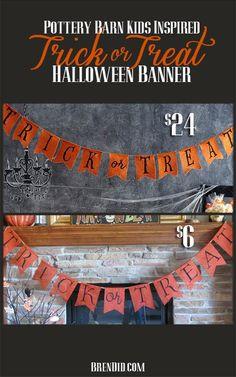 BrenDid Dollar Pottery Barn Kids Inspired Trick or Treat Banner Halloween DIY Easy DIY Craft Project #DIY http://brendid.com/pottery-barn-kids-inspired-orange-trick-treat-banner/