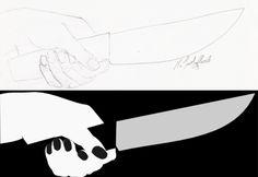 hand with knife; Sketch and graphic Hand mit Messer: Skizze und fertige Grafik
