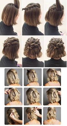 170 Easy Hairstyles Step by Step DIY hair-styling can help you to stand apart fr. - 170 Easy Hairstyles Step by Step DIY hair-styling can help you to stand apart from the crowds – P - Medium Hair Styles, Curly Hair Styles, Short Hair Wedding Styles, Short Hair Styles Easy, Shirt Hair Styles, Trendy Wedding, Hair Twist Styles, Bun Styles, Hair Medium