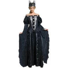 Snow White & The Huntsman Deluxe Queen Ravenna Adult Costume ($65) ❤ liked on Polyvore featuring costumes, halloween costumes, adult costume, goth fairy costume, adult snow white costume, fairy halloween costumes and long slip