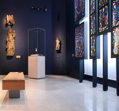Victoria and Albert Museum – Medieval & Renaissance Galleries. Check out the blue, the glass (sim to our banners?)