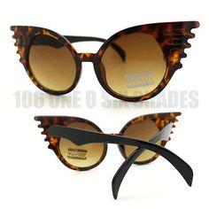Novelty Bat Wing Shaped Sunglasses New Unique Design Black, Brown, White