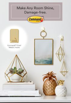 Add a little flare to your room with Command™ Small Metallic Hooks. They hold strongly on a variety of surfaces and come off cleanly! #DamageFree #CommandDoNoHarm