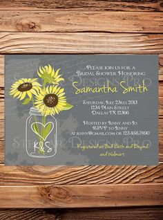 Sunflowers Mason Jar Bridal Shower Invitation, Vintage Mason Jar Invitation, Gray, Brown, Mason Jar, Sunflower, Wedding Shower (6172) @lexi Hershberger